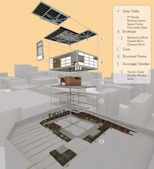 Solar Roofpod exploded axonometric | Courtesy of Team New York/CCNY